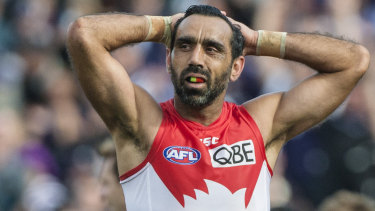 Adam Goodes during Sydney's 2015 qualifying final victory against Fremantle in Perth.