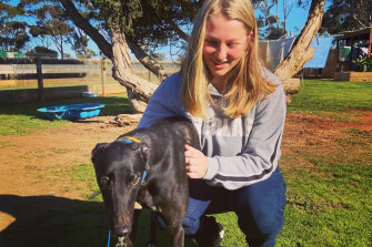 Grace Lewis and her greyhound Jess.