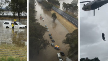 Images from the Hume Freeway where stranded drivers have been airlifted to safety.