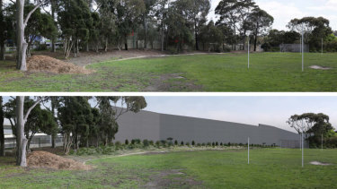 Before and after images from North Balwyn's Belle Vue Primary School once the Eastern Freeway is widened, as part of the North East Link.