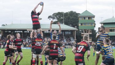 Action from the 2016 Shute Shield grand final between Norths and Sydney University at North Sydney Oval.
