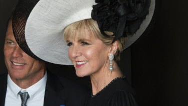 Foreign Minister Julie Bishop and her partner David Panton in the Lexus marquee. Photo by Jesse Marlow. .