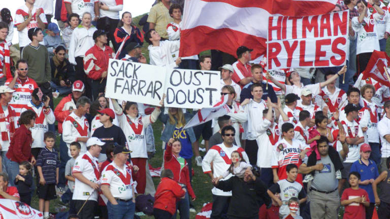 In no doubt where they stand: Dragons fans vent their frustrations at CEO Peter Doust.