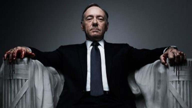 Kevin Spacey in his now-former role in House of Cards.