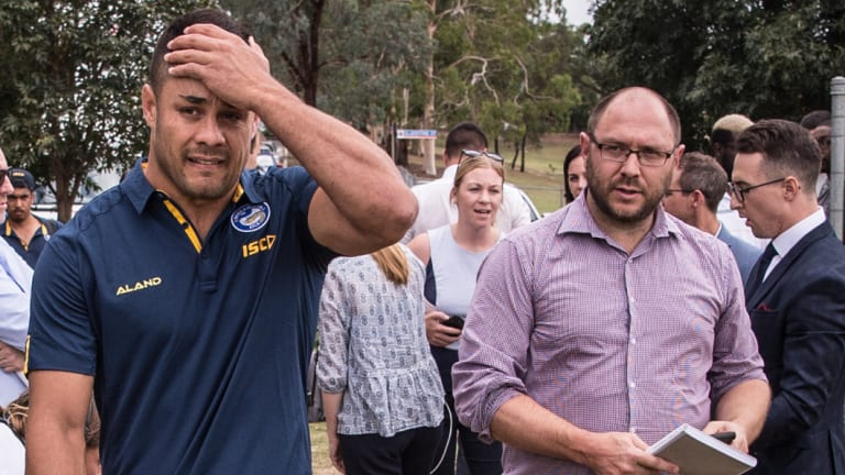 First claim: Jarryd Hayne departs after answering questions, back in January, about an alleged rape during his time in the United States.
