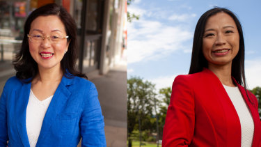 Gladys Liu (Liberal candidate) in her electorate of Chisholm in Victoria, Box Hill Central. Right: Jennifer Yang (Labor candidate) in her electorate of Chisholm in Victoria.