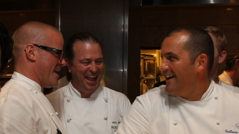 Heston Blumenthal with Neil Perry and Guillaume Brahimi.
