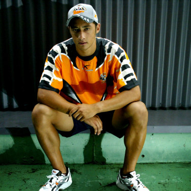 Benji Marshall after re-signing with the Wests Tigers following his NRL debut in 2003.