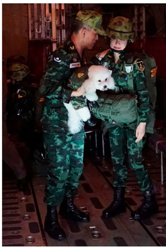The king with consort Sineenat Bilaskalayani and a pet dog on a military aircraft in August 2019.