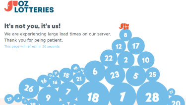 The rush to find out the winning numbers has crashed Oz Lotteries' website.
