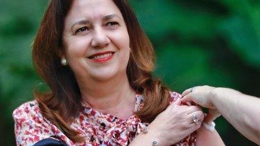 Queensland Premier Annastacia Palaszczuk gets her flu vaccine at State Parliament on Monday.