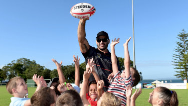Mentoring roles in and out of sport await Greg Inglis, seen here during an Indigenous All Stars camp.