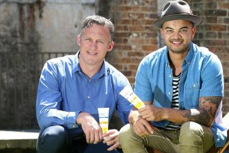 Happier times: Titus Day and Guy Sebastian in 2016.