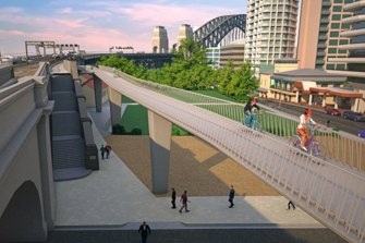 An artist's impression of a previous proposal for a ramp at the northern end of the bridge.