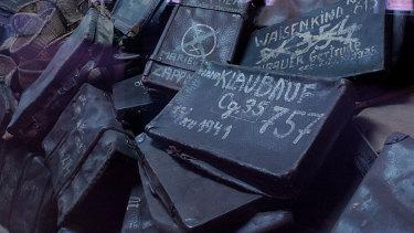 Suitcases belonging those interned at Auchwitz-Birkenau.