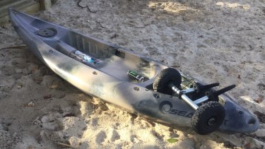 Chris Dicker's Kayak was found on the beach near the mouth of Tallebudgera Creek early on Sunday afternoon.