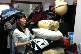 Marie Kondo working at a client's home in Tokyo.
