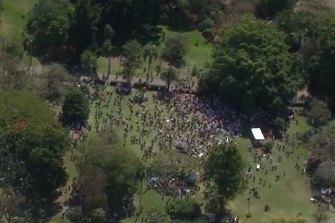 The rally began in the Botanic Gardens.