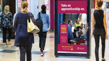 The apprenticeship message will be displayed in regional shopping centres over the next four months.