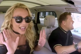 Britney Spears and James Corden on Carpool Karaoke.