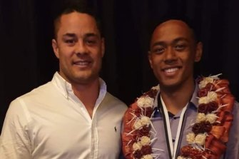 South Sydney teen Terrell Kalokalo, pictured with Jarryd Hayne after winning the NSWRL under-16s player of the year award, has signed a three-year NRL deal with South Sydney.