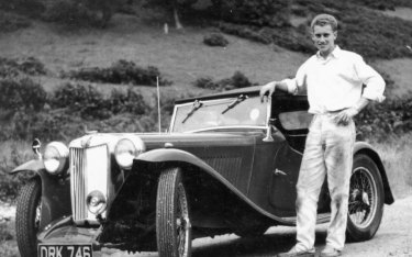 Philip Spradbery with his British sports car.