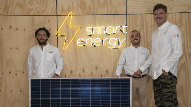 L-R: Smart Energy founders Beau Savage, Elliot Hayes and director of operations Jasper Boyschau.