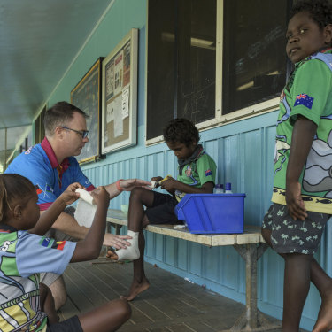 Director of Nursing Josh Stafford attends Lockhart State School once a week to do skin check-ups on students.