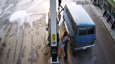 A screen grab from supplied CCTV footage released by Royal Canadian Mounted Police of murdered Australian man Lucas Fowler and his American partner Chynna Deese stopping at a petrol station in Fort Nelson.