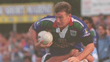 Sir John Kirwan in action for the Auckland Warriors against Cronulla after switching codes in 1995.