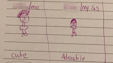 One of Julie's children draws a picture of himself and his new sister.
