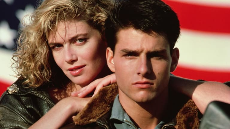 "Kelly McGillis, left, and Tom Cruise are shown in a promotional image for the 1986 film, ""Top Gun."""