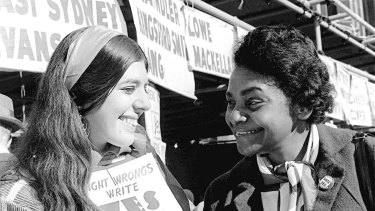 Faith Bandler (right) during the 1967 referendum campaign that gave the federal government the power to make laws for Indigenous Australians and include them in the census.