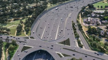An artist's impression of what the widened Eastern Freeway at Doncaster Road would look like once the North East Link project is complete.