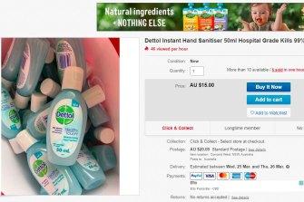Dettol hand sanitiser selling for $15 on eBay this week.