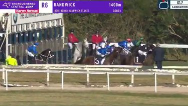 Left behind: Winx misses the start in last year's Warwick Stakes.
