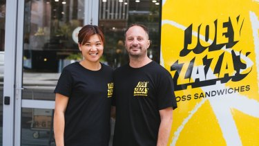 Michelle and Joe Rechichi outside their popular Joey Zaza's store on St George's Terrace.