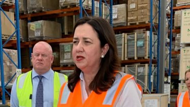 Premier Annastacia Palaszczuk campaigning in Brisbane on Friday.