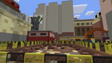 The Metro Tunnel construction site on Swanston Street in the Minecraft game.