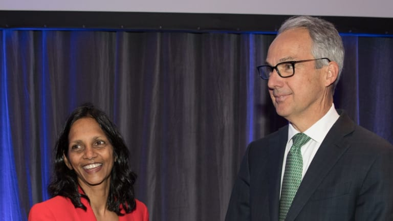 New Macquarie CEO Shemara Wikramanayake with outgoing CEO Nicholas Moore at the Macquarie Group AGM in Sydney.