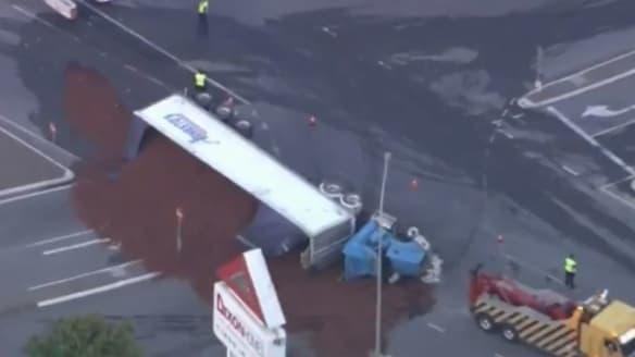 Rocklea truck rollover spills woodchips across Ipswich Road