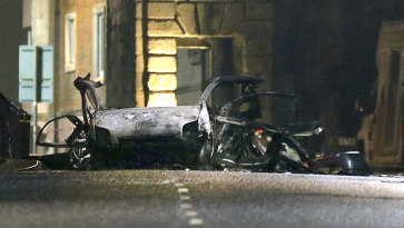 The scene of Saturday night's car bomb on Bishop Street in Londonderry, Northern Ireland.