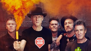 Martin Rostey, Peter Garrett, Bones Hillman, Jim Moginie and Rob Hirst of Midnight Oil in 2017 promoting their The Great Circle tour.