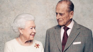 Queen Elizabeth and Prince Philip pose for a photograph in November 2017, marking 70 years since they wed.