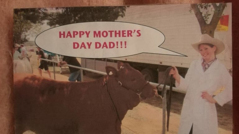 A card Katie Thorburn gave her dad on his first Mother's Day as a sole parent.