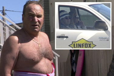 Linfox Logistics executive chairman Peter Fox at Palm Beach on the Gold Coast. Inset: driving with his wife Lisa.