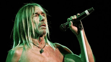 Iggy Pop quickly dispenses with his shirt at the Sydney Opera House.