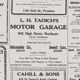 A 1925 Northcote Leader ad for Tadich's Motor Garage at 802 High Street.
