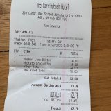 Receipt for lunch with Adalita at Carringbush Hotel
