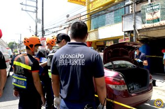 Emergency services at the scene of the shooting in Olongapo.